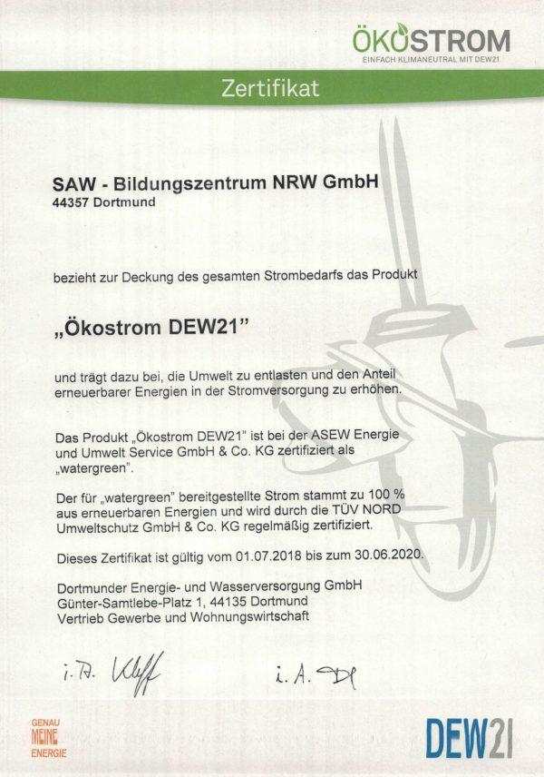 SAW-Bildungszentrum-NRW-GmbH-Nachhaltigkeit-Ökostrom
